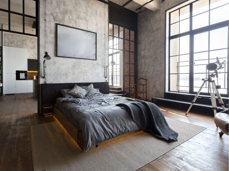 Bedroom with bright light